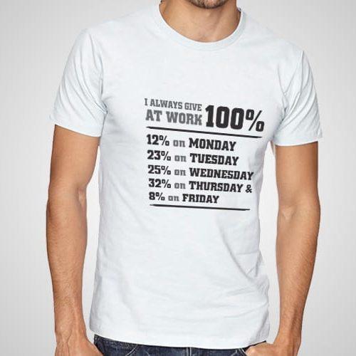 100% At Work Printed T-Shirt