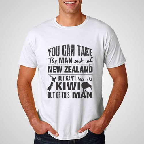 Kiwi Man Girl New Zealand Printed T-Shirt