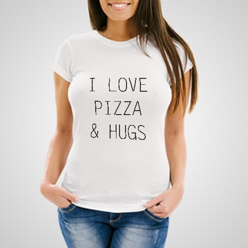 I Love Pizza and Hugs printed t-shirt