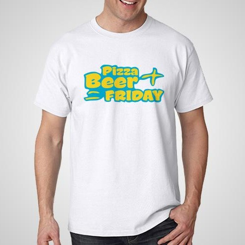 Pizza Beer Friday Printed T-Shirt