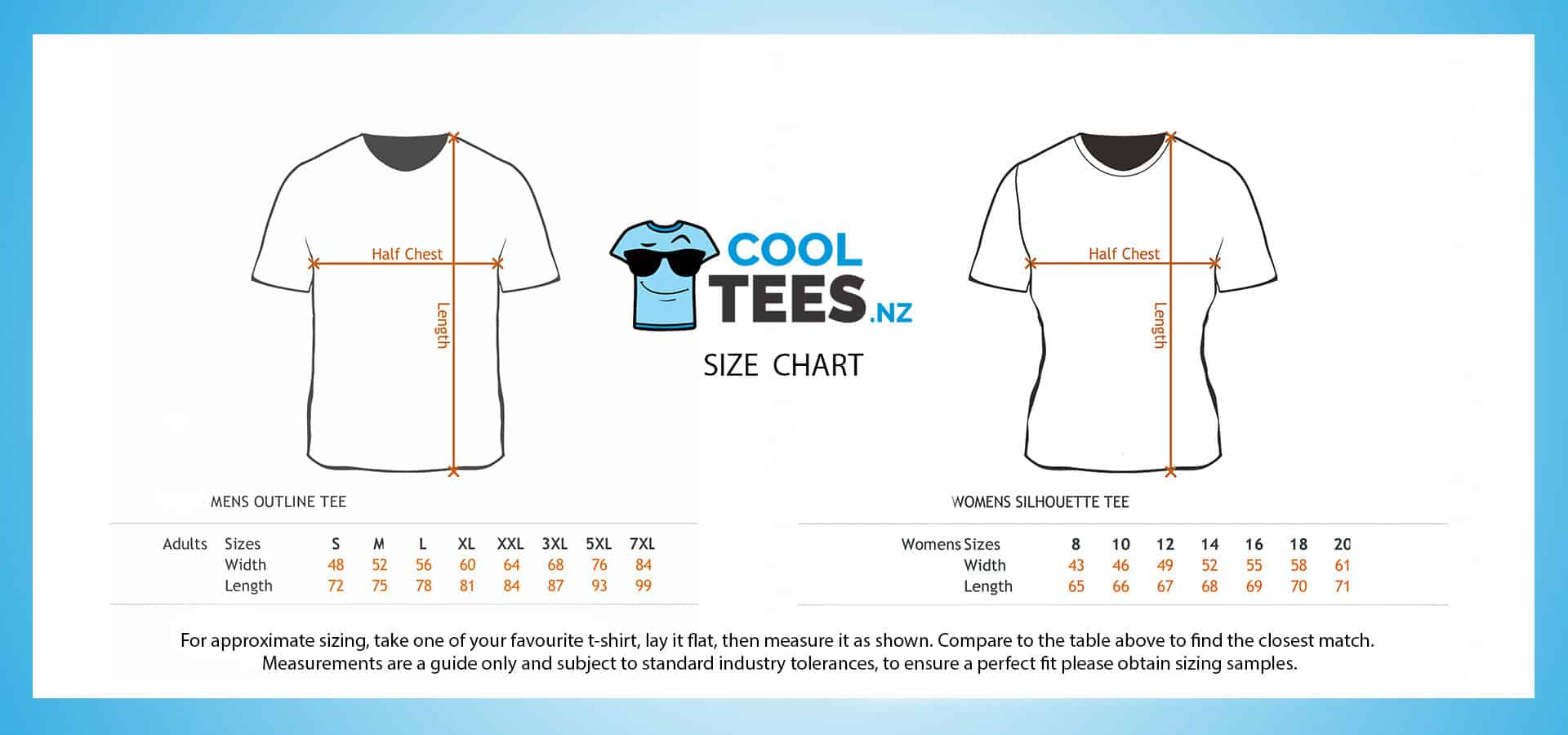 Cool Tees Size Chart