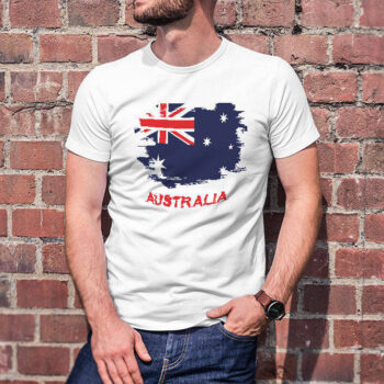 Grunge Australian Flag White T-Shirt