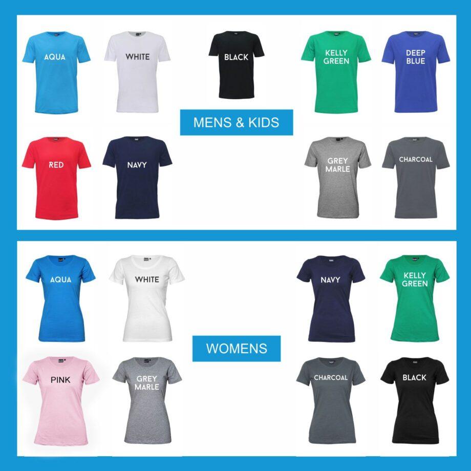 T-Shirt Colour Guide