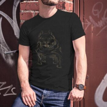 Dotted Pitbull Dog Black T-Shirt