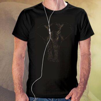 Dotted Elephant Black T-Shirt