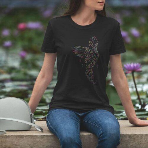Monoline Parrot Black T-Shirt