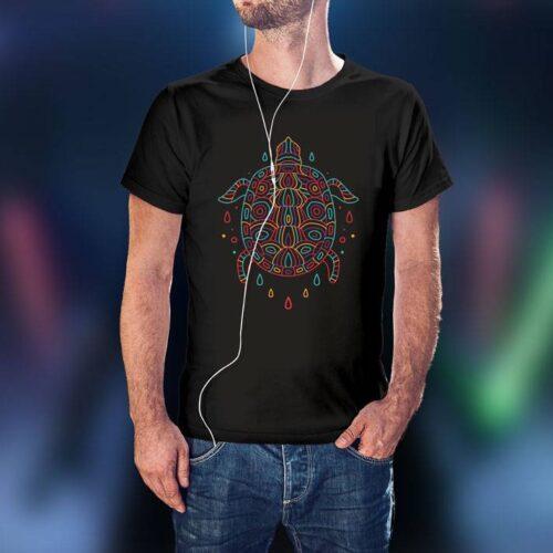 Monoline Turtle Black T-Shirt